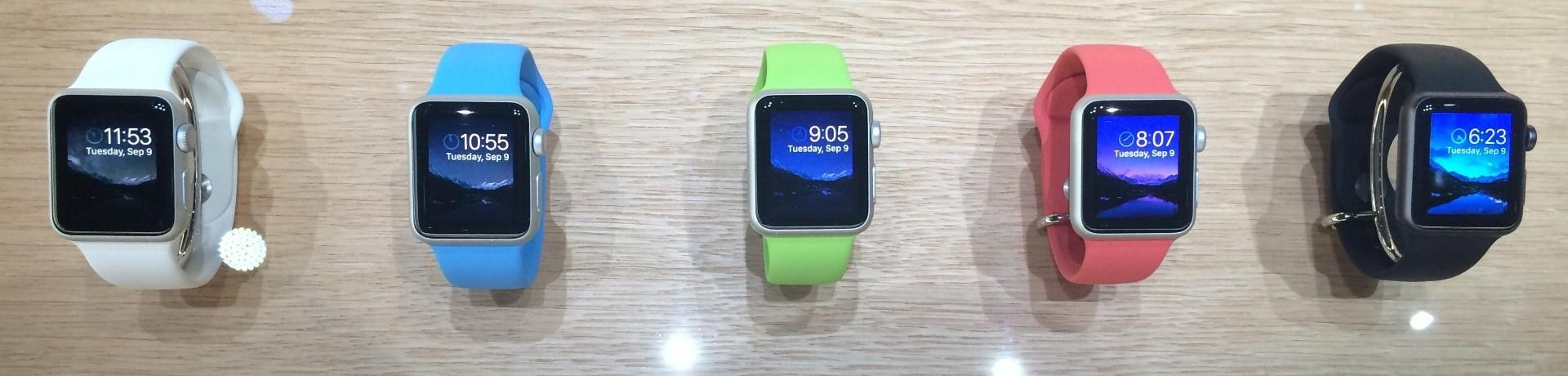 """La gamme """"Sport"""" de l'Apple Watch, commercialisée début 2015."""