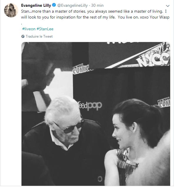 Evangeline Lilly rend hommage à Stan Lee