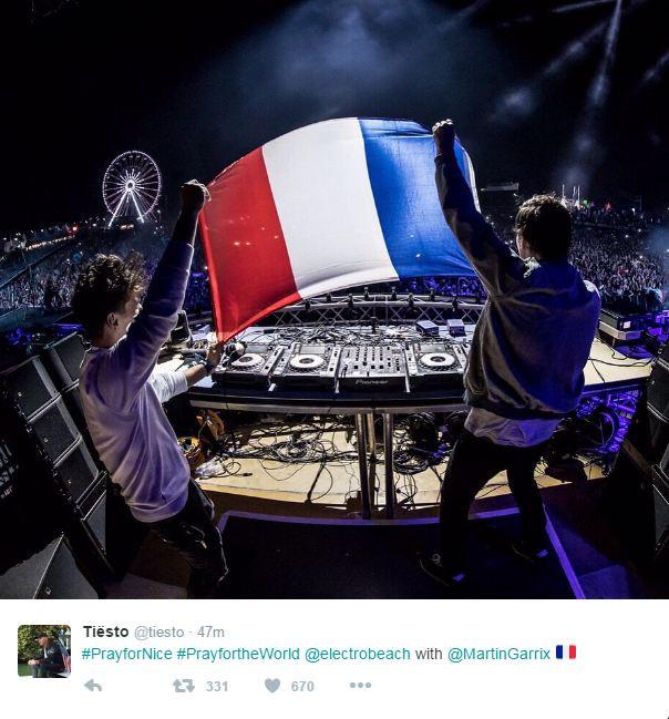 Tiësto et Martin Garrix ont publié un tweet de soutien à Nice
