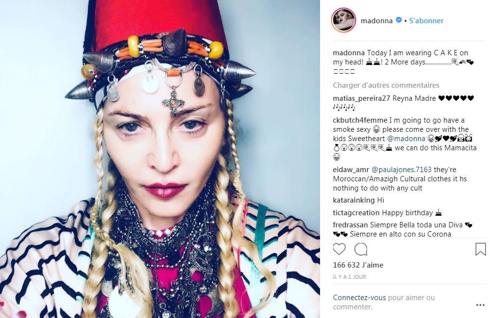 Madonna et des accessoires berbères à deux jours de son anniversaire