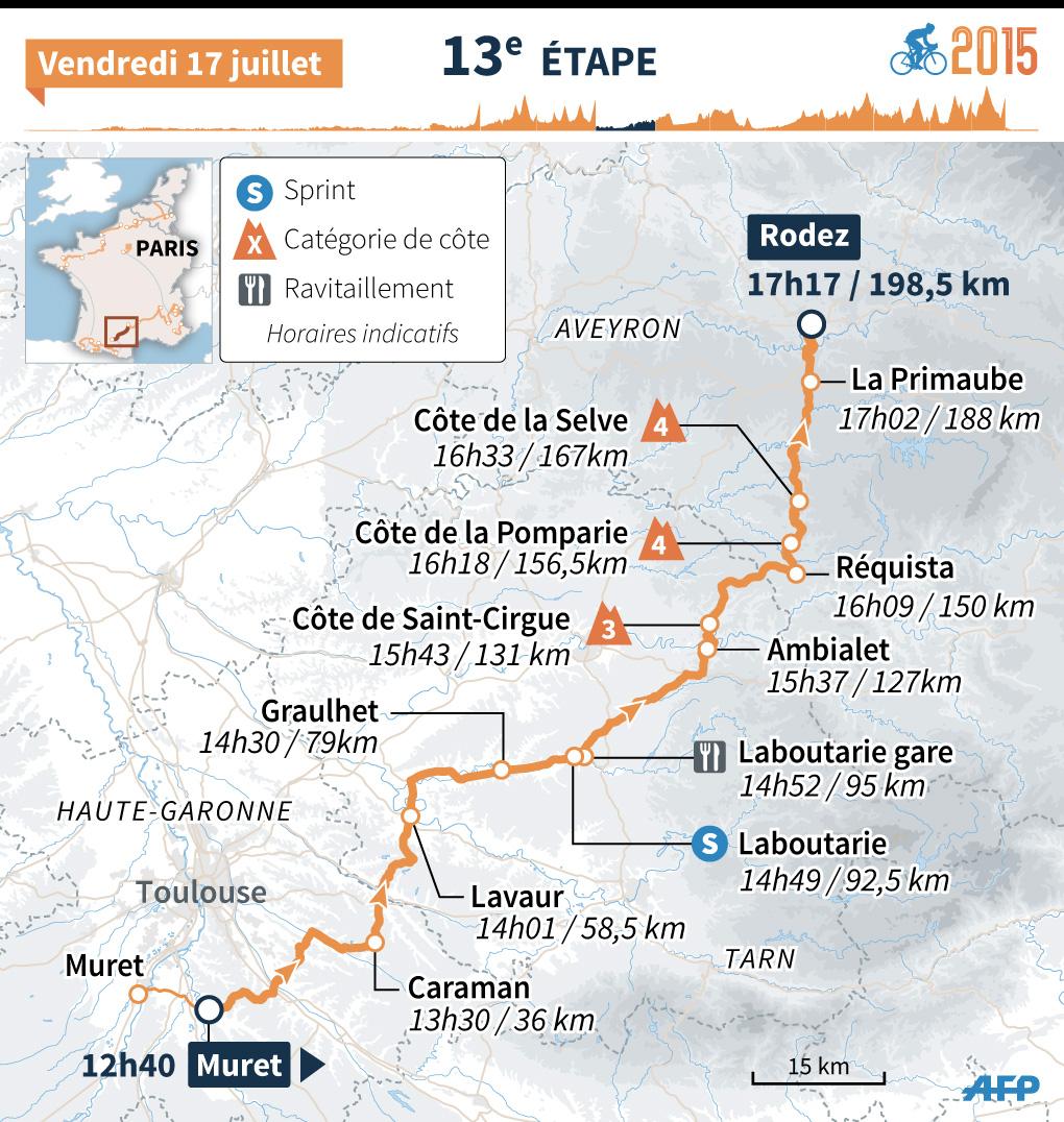 Tour de France 2015 : le parcours de la 13e étape