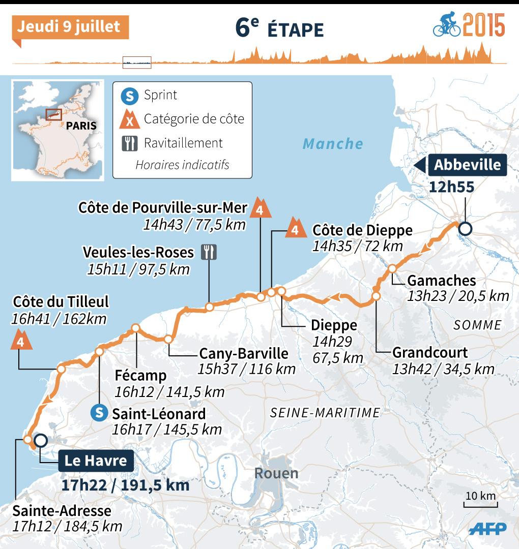 Tour de France 2015 : le parcours de la 6e étape