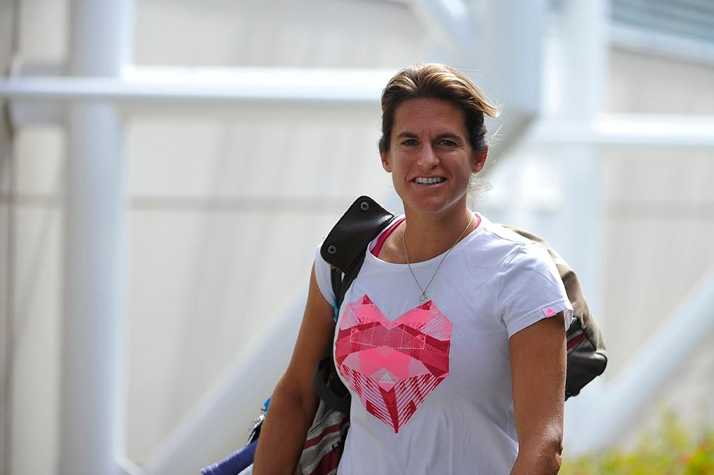Amélie Mauresmo, entraîneur d'Andy Murray, était tout sourire. L'Écossais affrontera Novak Djokovic en finale