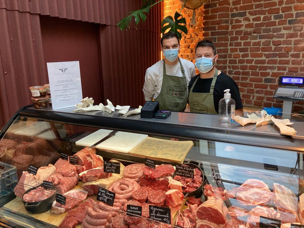 Charles-Henry Terrier, boucher à Meteren dans les flandres. Il fournit plusieurs restaurants et se félicite de cette initiative qui permet d'écouler ses viandes, issues d'éleveurs nordistes.