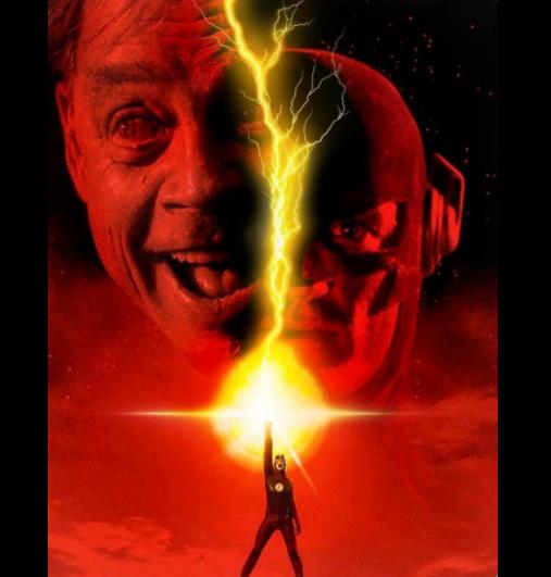 The Flash, le héros de DC Comics à côté d'une photo de Mark Hamill qui joue le Trickster dans la série