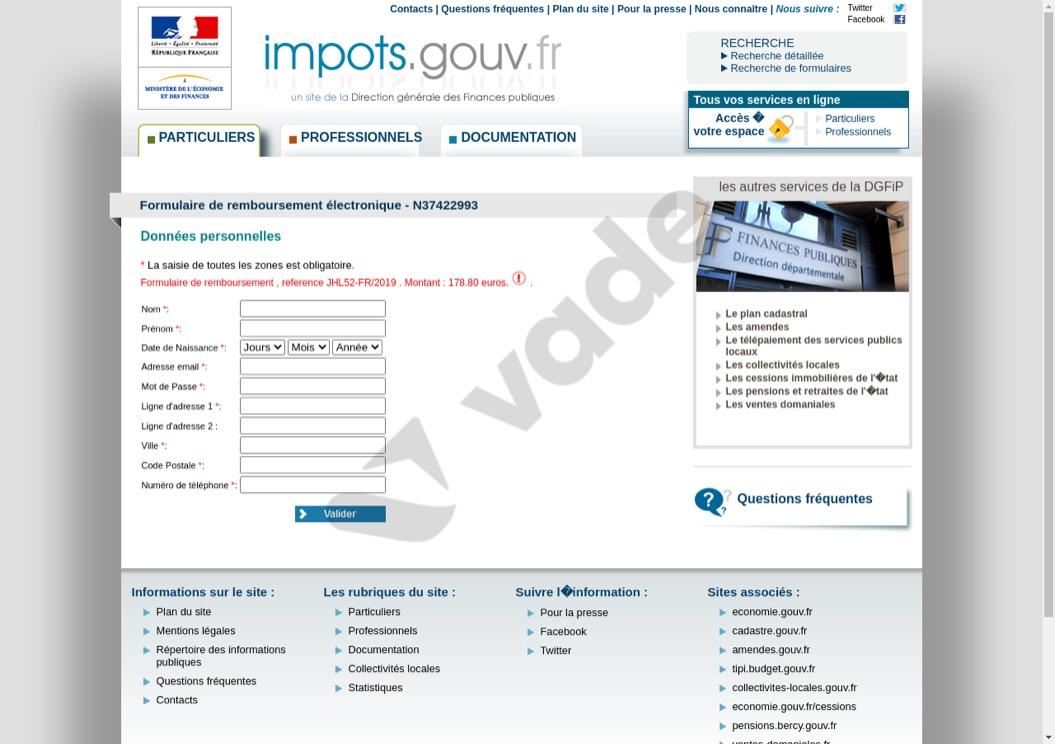 Exemple de mail utilisant les impôts pour dérober des informations personnelles