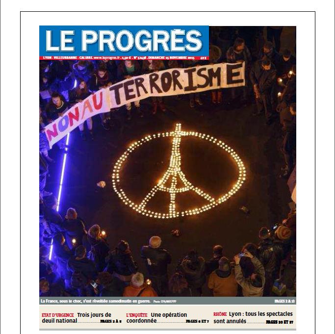 """La Une du Progrès """"Non au terrorisme"""""""