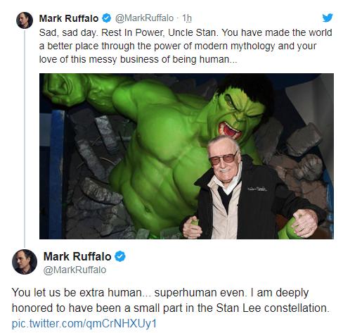 L'hommage de Mark Ruffalo à Stan Lee. Il a interprété Bruce Banner/Hulk à trois reprises dans la saga Avengers.