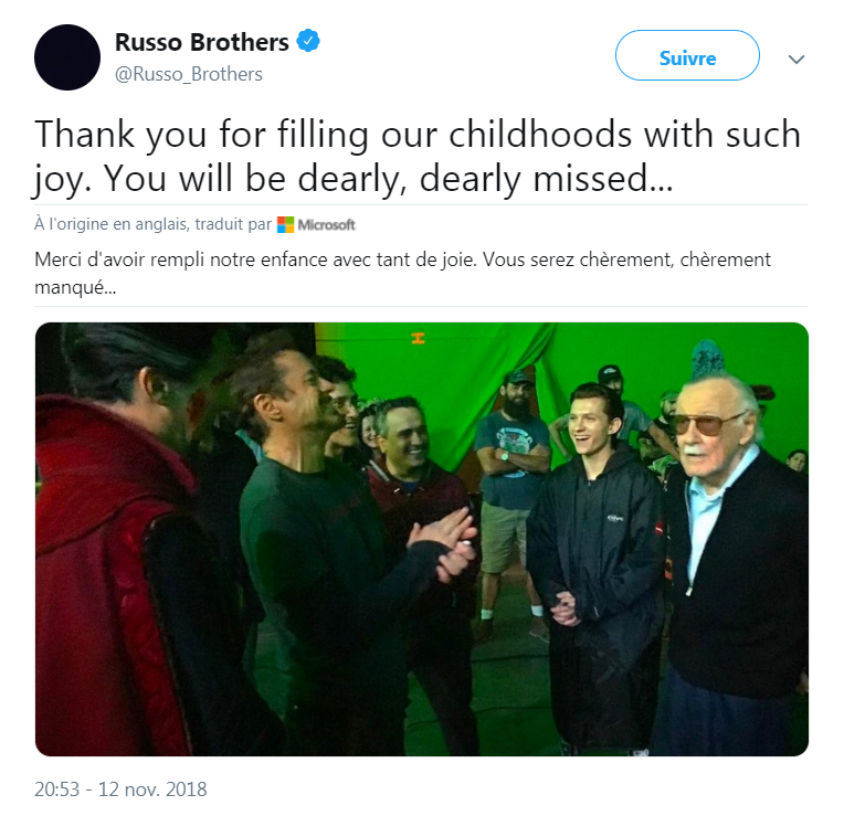 L'hommage des frères Russo, réalisateurs de Captain America : Civil War, à Stan Lee, sur Twitter