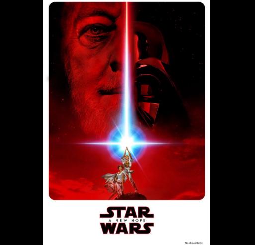 """Un mélange entre l'affiche d'""""Un nouvel espoir"""" et du visage d'Obi-Wan Kenobi"""