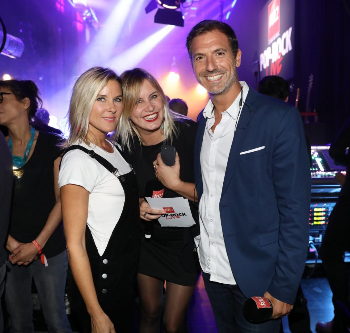 Stéphanie Renouvin, Justine Salmon et Grégory Ascher dans les coulisses du RTL2 Pop-Rock Live au Trianon
