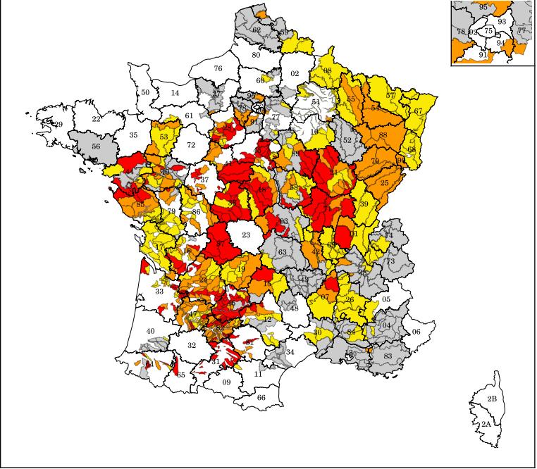La carte de la sécheresse en France au 8 août 2020