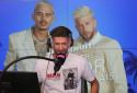 """Paga et Greg lors de la 1ère émission de """"La Story des Marseillais"""" sur Fun Radio"""