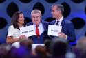 Anne Hidalgo (maire de Paris), Thomas Bach (président du CIO) et Éric Garcetti (maire de Los Angeles), le 13 septembre 2017 à Lima