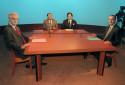 Jacques Chirac lors du débat de l'entre-deux tours en 1995, avec Lionel Jospin, animé par Alain Duhamel et Guillaume Durand.
