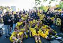 Les Rochelais fête leur victoire contre le Leinster le 2 mai 2021