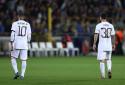 Neymar et Lionel Messi avec le PSG à Bruges le 16 septembre 2021
