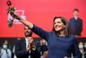Anne Hidalgo lors de son investiture solennelle en tant que candidate au Grand Palais à Lille le 23 octobre 2021.