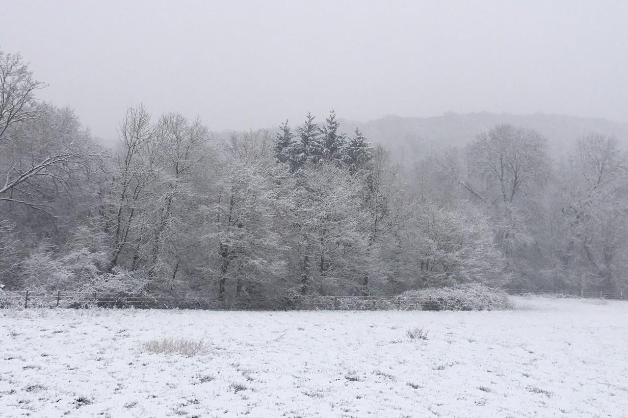 Bièvres (Essonne) sous la neige le 6 février 2018.