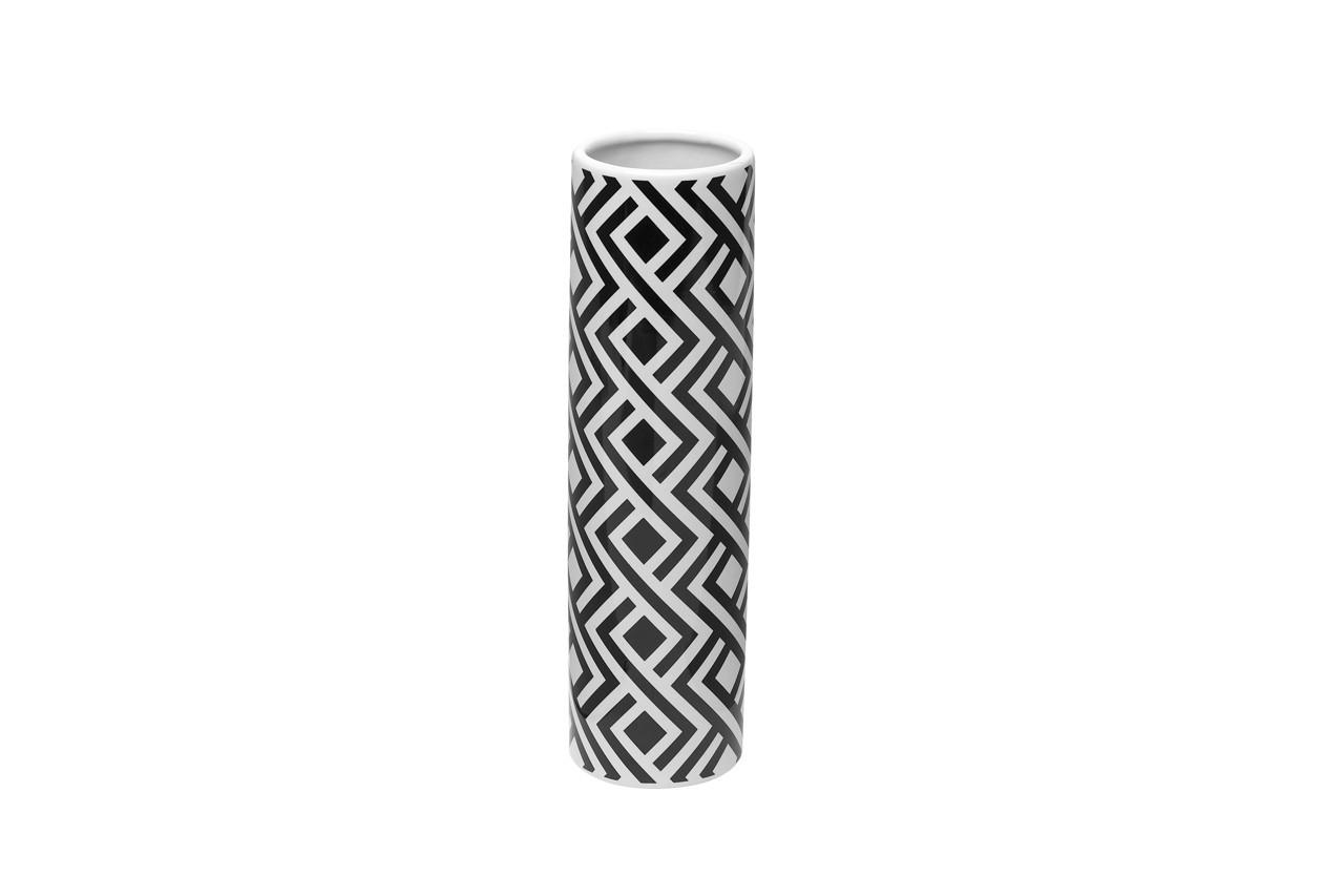 Les motifs géométriques subliment se vase conique. Vase Optik cylindrique Conforama, 9,99 €