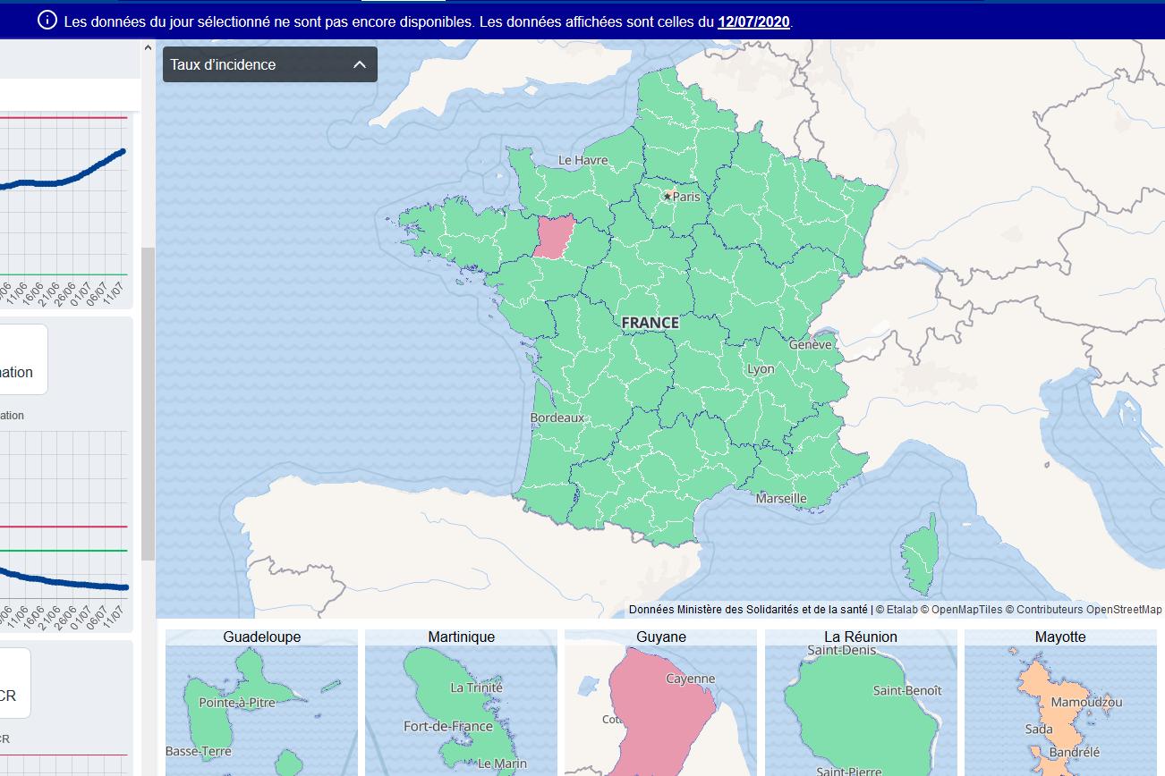 Le taux d'incidence dans les différents départements de France, le 12 juillet 2020 (capture d'écran réalisée le 17 juillet 2020)