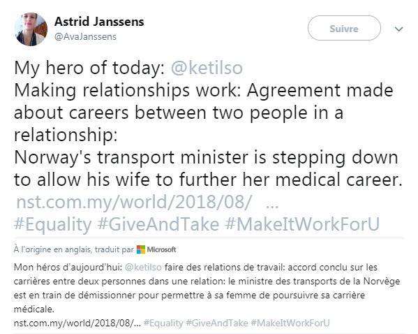 """Cette internaute qualifie le ministre comme son """"héros du jour"""""""