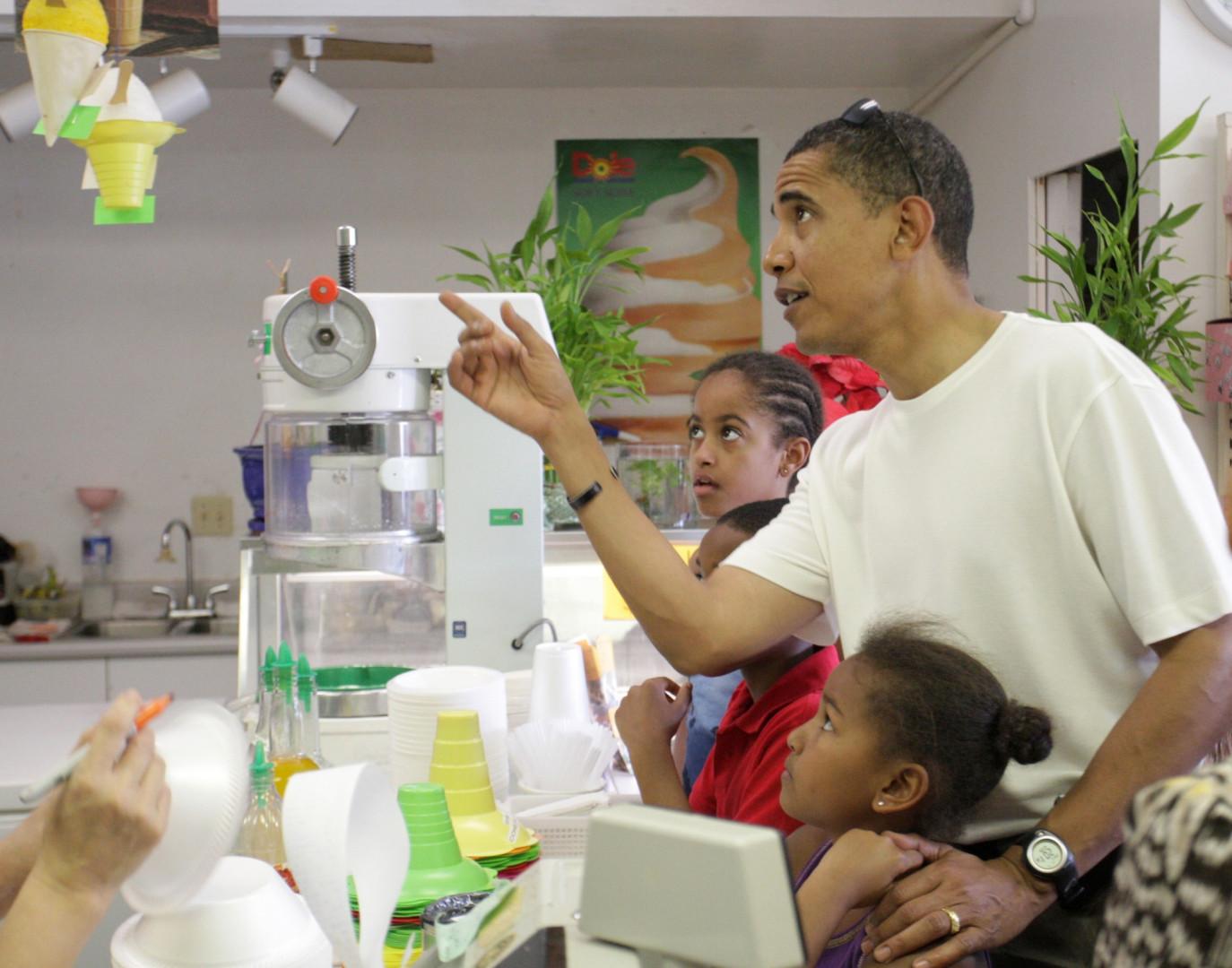 Les vacances de Noël à Hawaii, l'État d'origine de Barack Obama, sont une excellente occasion pour déguster des glaces à la noix de coco.