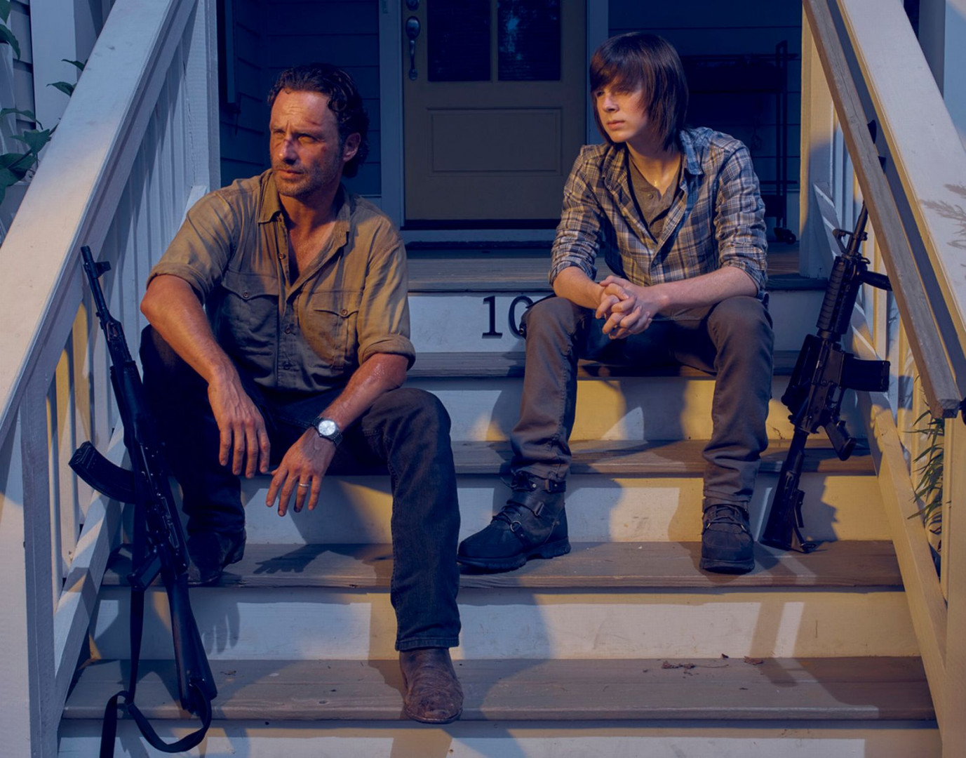Rick Grimes (Andrew Lincoln) et son fils Carl (Chandler Riggs)
