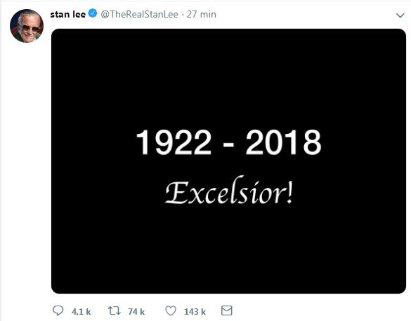 Le compte Twitter de Stan Lee a rendu hommage à sa façon au maître