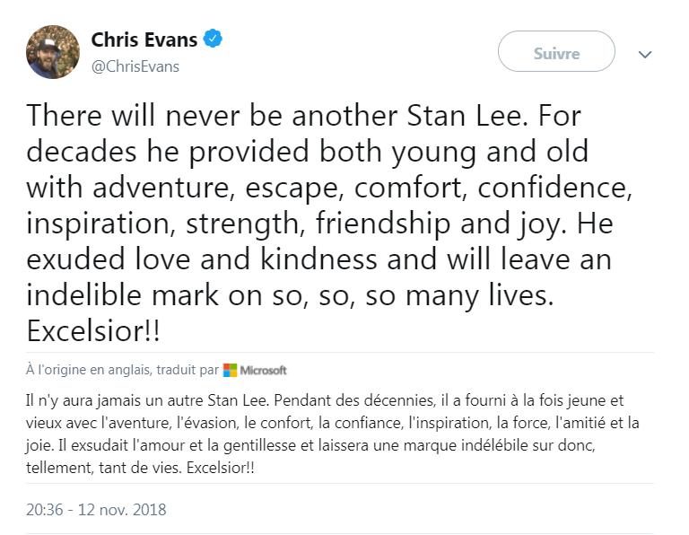 L'hommage de Chris Evans, alias Captain America, à Stan Lee, sur Twitter