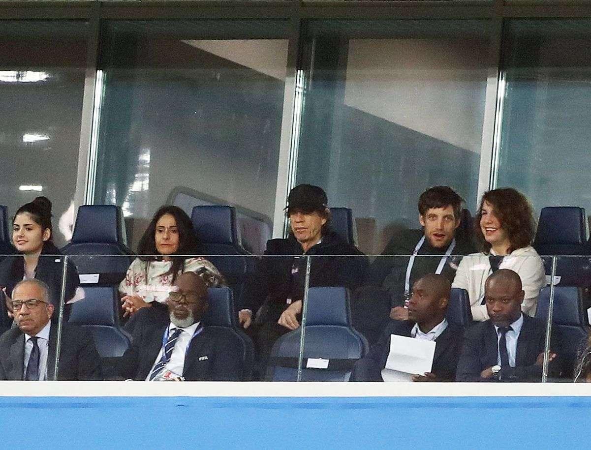 Mick Jagger était également de la partie pour voir la France battre la Belgique en demi-finale mardi 10 juillet 2018