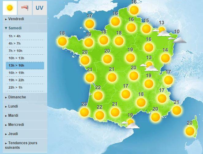 Prévisions de Météo France pour samedi 31 octobre
