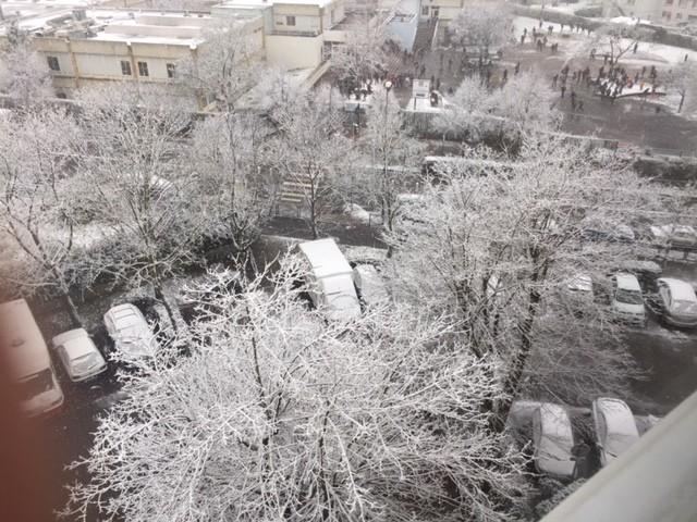 La neige à Noisy-le-Grand (Seine-Saint-Denis) le mardi 6 février 2018