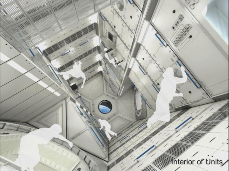Vue de l'intérieur des capsules de vie du port géostationnaire