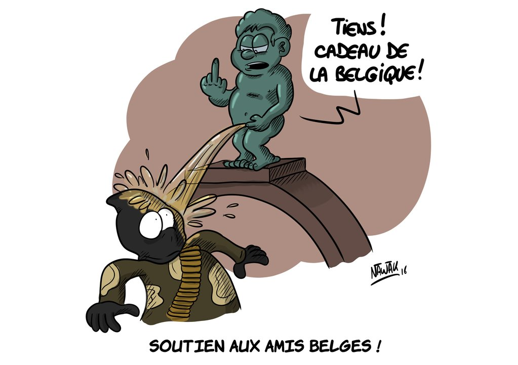 Le Manneken-Pis combat les terroristes pour le dessinateur Nawak