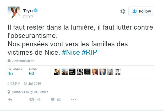 Le groupe Tryo a apporté son soutien aux familles des victimes