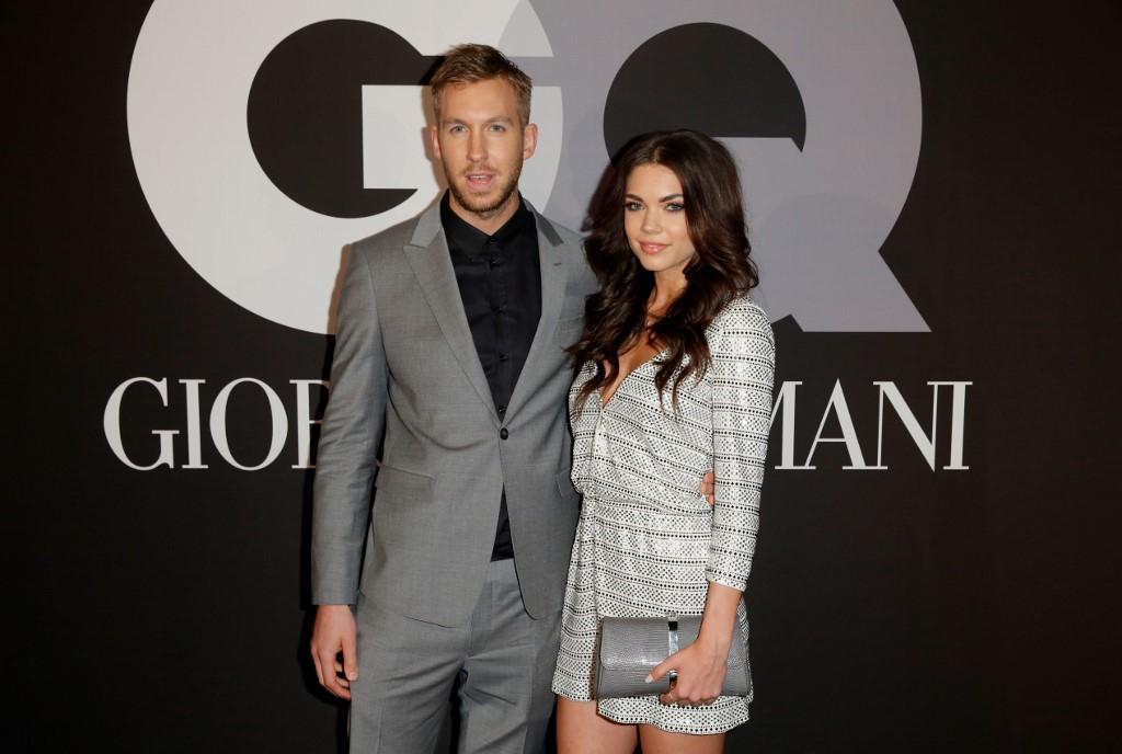 Le DJ Calvin Harris et la mannequin Aarika Wolf lors de la soirée GQ et Giorgio Armani en 2015 à Hollywood.