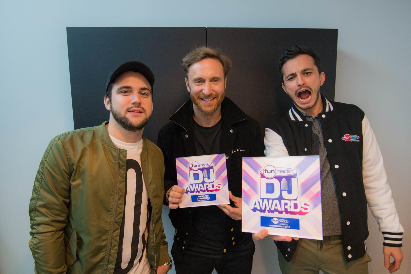 Adrien Toma, David Guetta et JB
