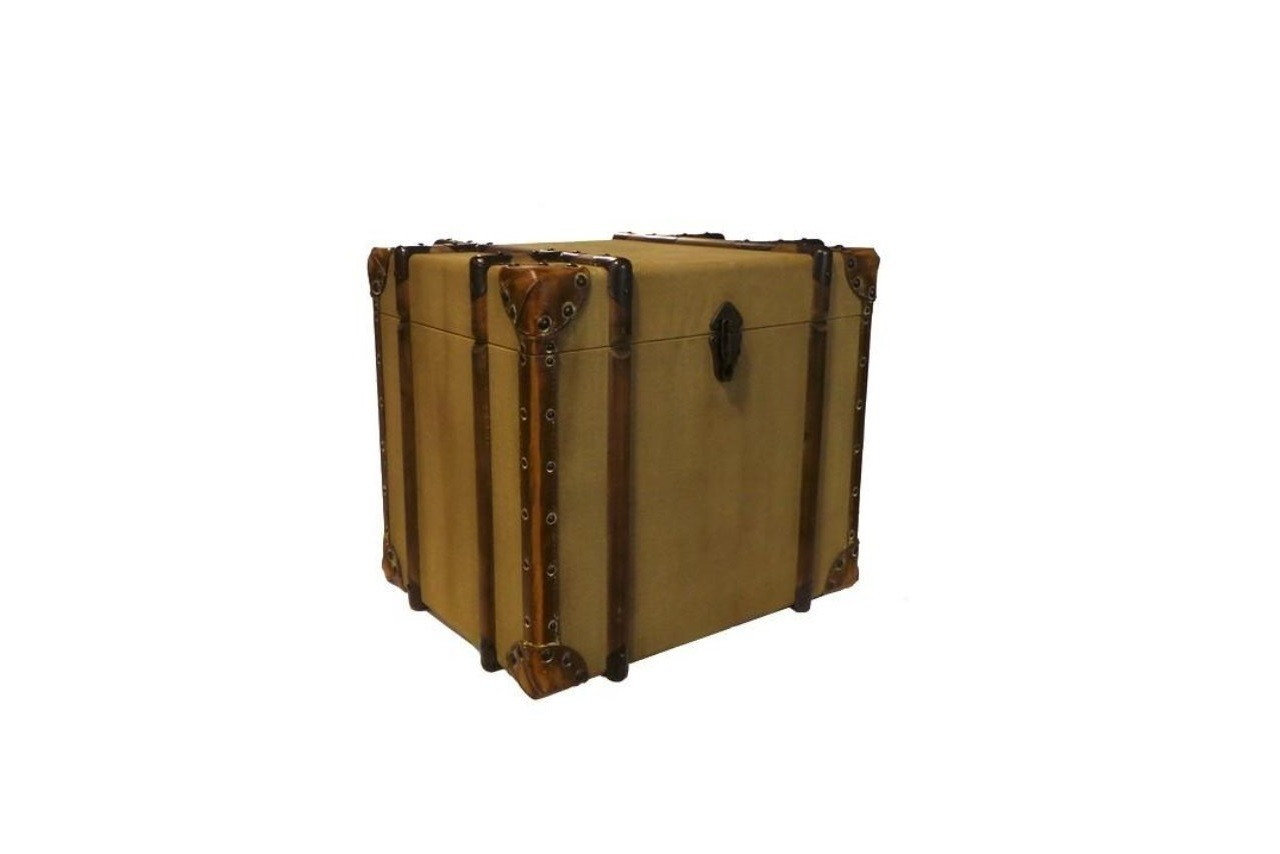 Malle de rangement en tissu, bois et cuir voyage, Pomax, Wadiga, La Redoute