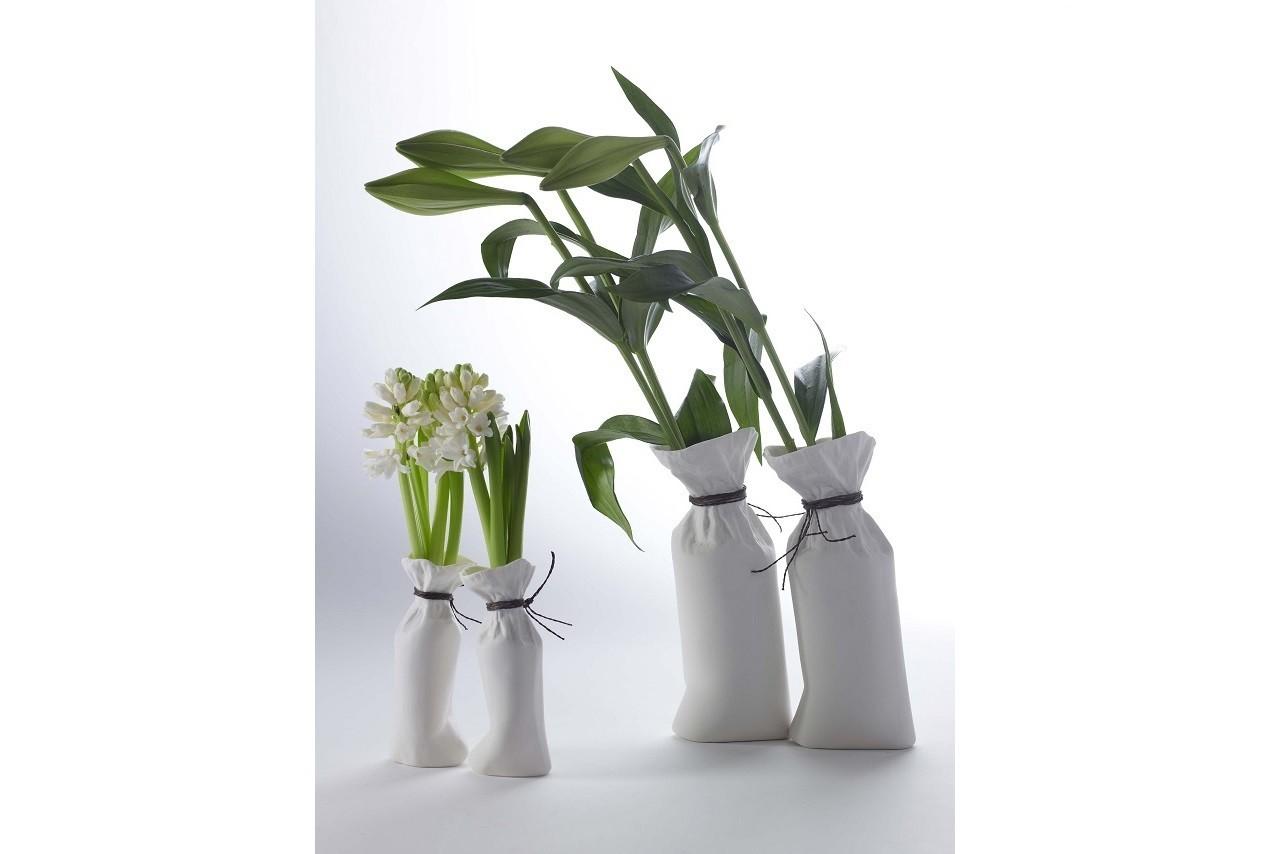 Vase sac en porcelaine pure, Fleux