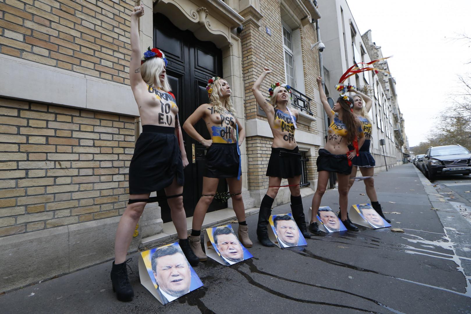 Devant l'Ambassade de l'Ukraine, le 1er décembre 2013 à Paris.