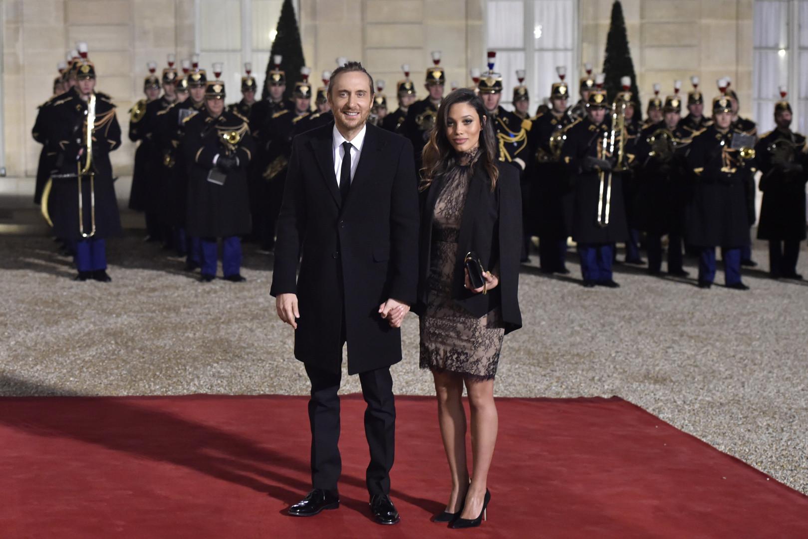 David Guetta et sa compagne cubaine Jessica Ledon, à l'Élysee le 1er février 2016