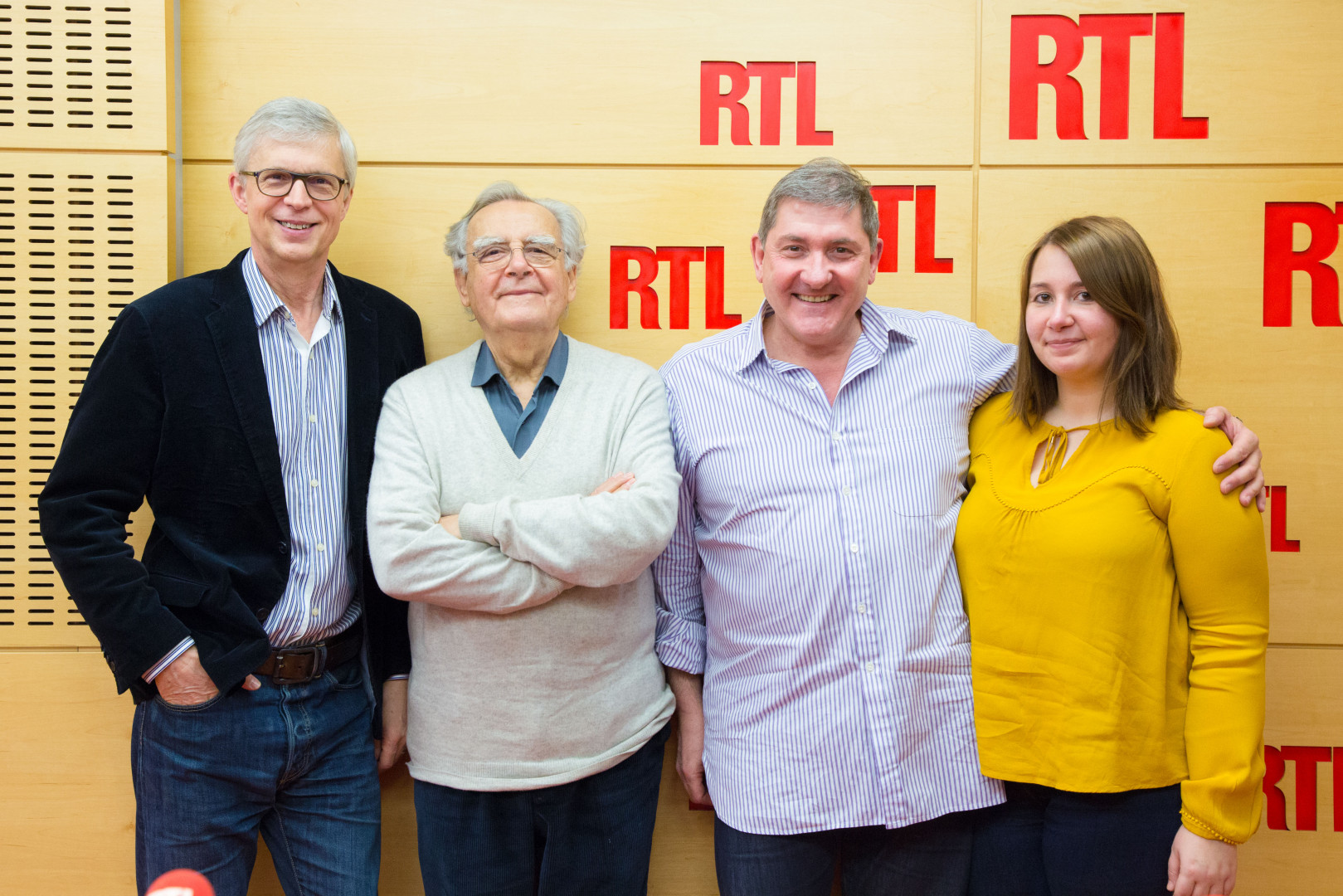 Bernard Lehut, Bernard Pivot, Yves Calvi et Charlotte Arrigoni
