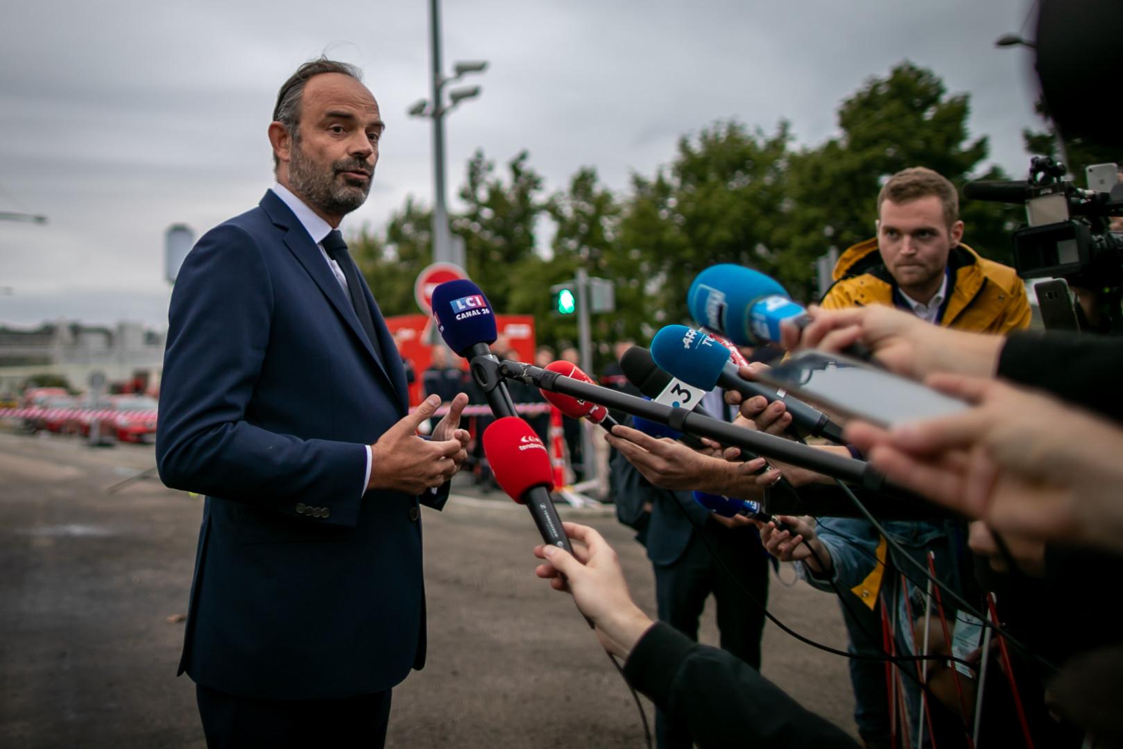 Édouard Philippe à Rouen après l'incendie de l'usine de Lubrizol, le 30 septembre 2019
