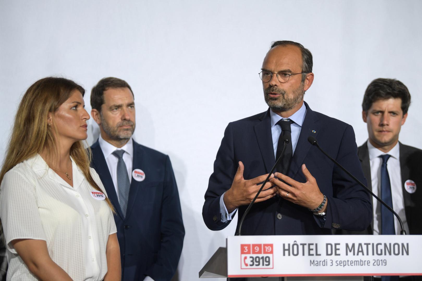 Marlène Schiappa, Christophe Castaner, Édouard Philippe et Julien Denormandie, au Grenelle des violences conjugales le 3 septembre 2019