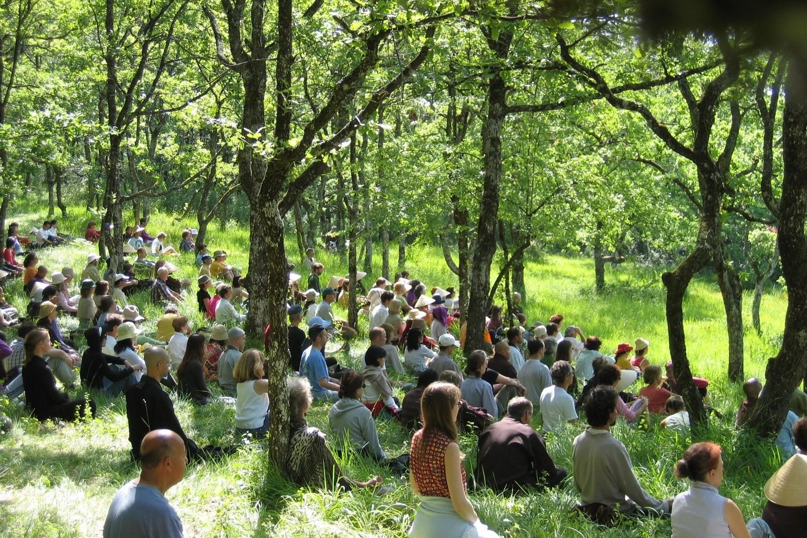 Au Village des Pruniers, les retraitants apprennent la culture et la philosophie bouddhiste.