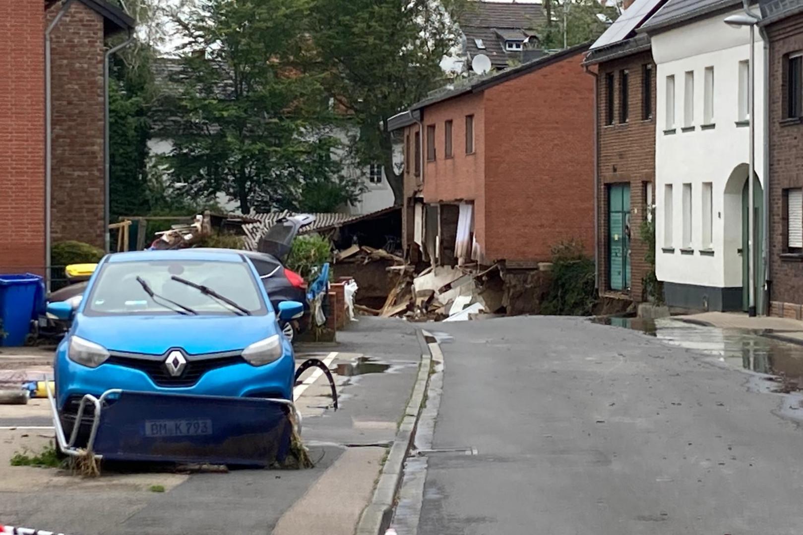 La ville de Erftstadt, en Allemagne, où un glissement de terrain a emporté plusieurs maison