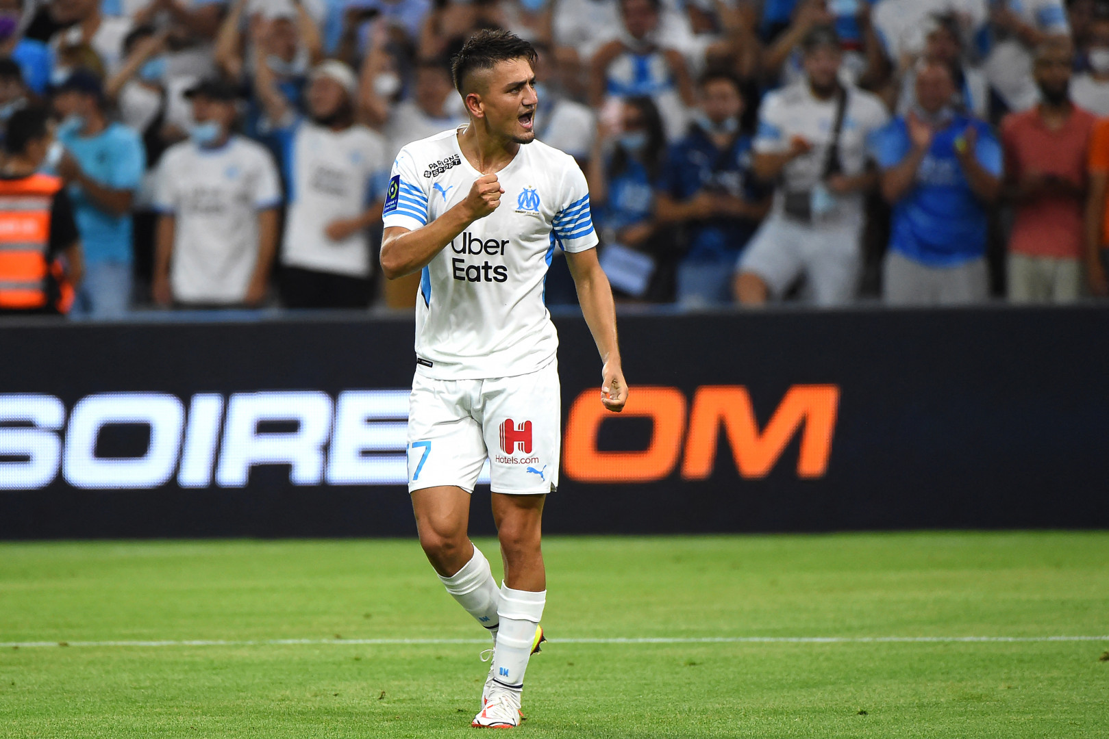 Cengiz Under après son premier but sous le maillot de l'OM contre Bordeaux le 15 août 2021 au Vélodrome.