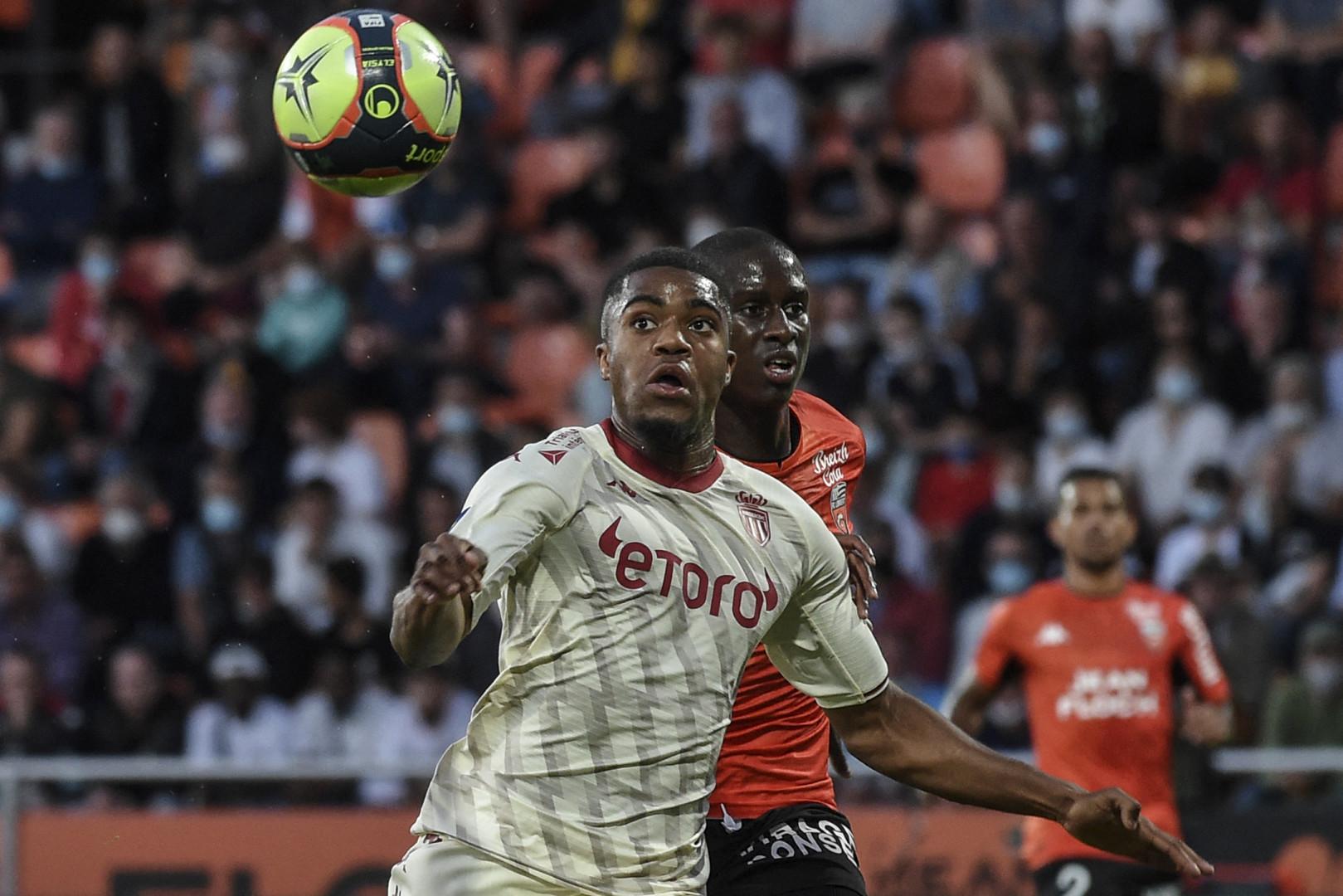 Myron Boadu avec l'AS Monaco contre Lorient le 13 août 2021 au stade du Moustoir.