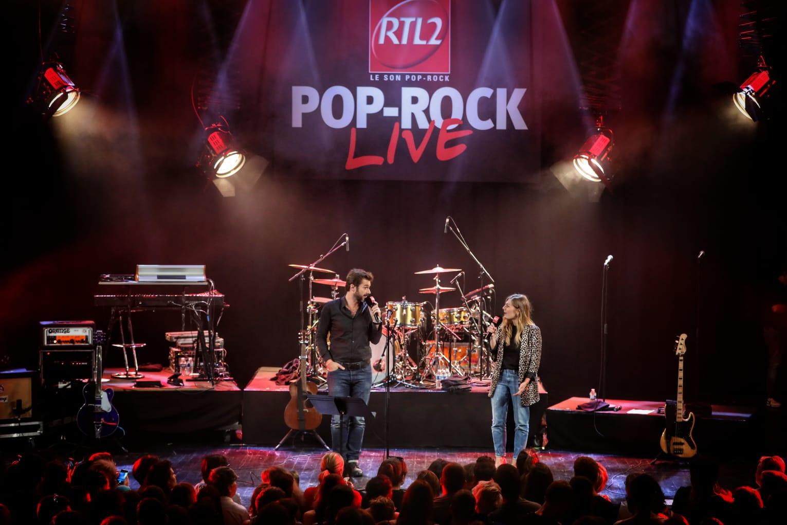 Eric Jean Jean et Mathilde Courjeau sur la scène du RTL2 Pop-Rock Live au Trianon